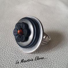 Bague boutons - Bague bouton - Bijou artisanal - Bague fleur - Bague noire