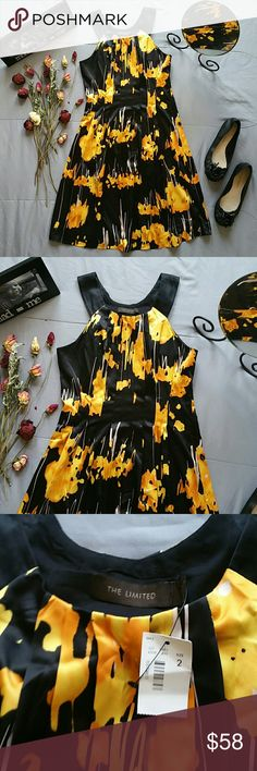 """THE LIMITED YELLOW FLORAL HALTER DRESS *SALE IS FOR DRESS ONLY!  FRANCO SARTO BLACK FLATS SIZE 8M SOLD SEPARATELY! BUNDLE AND SAVE!  *BRAND NEW WITH TAGS  *LOVE LOVE LOVE THIS BEAUTIFUL YELLOW FLORAL DRESS. STAY ON TREND WHILE MAKING A STATEMENT!  *SHELL 96% POLYESTER 4% SPANDEX  *LINING 100% POLYESTER  *MACHINE WASHABLE  *SIDE ZIP AND CLASP CLOSURE  *BUST 33"""" *WAIST 28"""" *SHOULDER TO HEM 36.5"""" *STORED IN NON-SMOKING PET FREE HOME The Limited Dresses"""