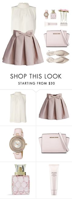 """""""Romantic Blush"""" by sweetpastelady ❤ liked on Polyvore featuring Y.A.S, Chicwish, Ted Baker, MICHAEL Michael Kors, Vera Bradley, Shiseido, Chive, women's clothing, women's fashion and women"""