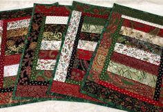 Stunning Quilted Christmas Placemats - Set of 4. $45.00, via Etsy.