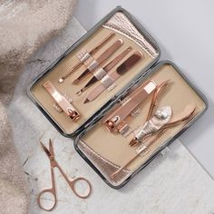 Personalised Ladies Manicure Set : Are you interested in our beauty gift for her? With our rose gold manicure set you need look no further. Gold Manicure, Pedicure Nail Art, Mac Color, Cuticle Cutter, China Glaze, Hair Tools, Beauty Care, Girly Things, Nailart