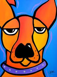 Abstract dog painting Modern pop Art print Contemporary colorful portrait yellow face decor by Fidostudio Pop Art Collage, Modern Pop Art, Displays, Chicago Artists, Contemporary Abstract Art, Art Moderne, Dog Paintings, Picasso, Dog Art