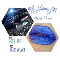My Holiday Lips: JSC Blue Velvet + Mac Soft Hint Frosted Lipstick, Blue Lipstick, Hannukah, Something Blue, Blue Velvet, Makeup, Pretty, Instagram Posts, Holiday