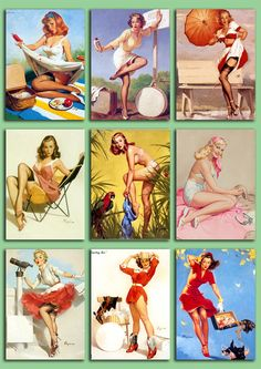 Digital Collage Sheet - Pinup Girls from the 50's - PNG and JPG files - Vintage illustrations - 2,5 x 3,5 inch - Vol. 6.