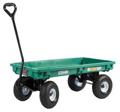 Farm Tuff Plastic Deck Wagon, 20-Inch By 38-Inch, Green, 2015 Amazon Top Rated Wheelbarrows & Replacement Parts #Lawn&Patio