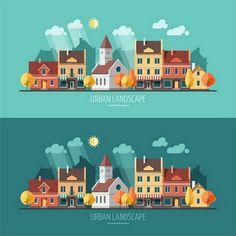 Flat design urban landscape illustration on Behance