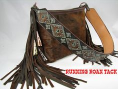 Dark Brindle Cowhide Handbag with Aztec Print and Authentic Jingle Cones by Running Roan Tack