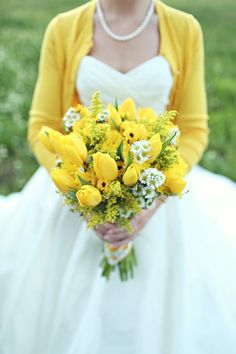 yellow cardigan and yellow bouquet