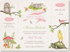 Baby Shower Invitations Wonderful Woodland - Front : Watermelon