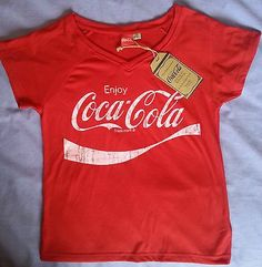 460f10c6 COCA COLA Primark T Shirt Coke Womens V Neck PJ Top Sizes 6-20 Official  Licensed