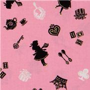 Cosmo fabric with Alice in Wonderland with golden glitter from Japan