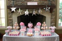 Twinkle, twinkle little star baby shower party candy buffet! See more party planning ideas at CatchMyParty.com!