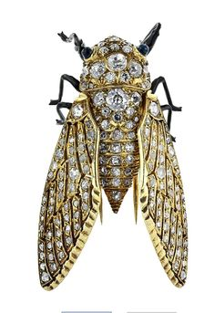 Large Diamond and Gold Insect Pin