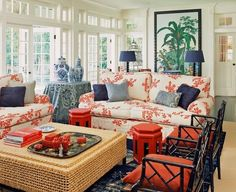 I never gravitate towards red and blue together in decorating. When I do, it's often with an Asian motive or early American and one or the other colors is muted
