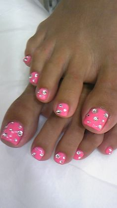 pink bling summer toes