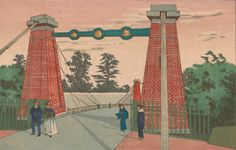the reds in his pictures are especially nice  Suspension Bridge on Castle Grounds  Kobayashi Kiyochika Meiji era, ca. 1879 Woodblock print; ink and color on paper H x W: 20.5 x 31.9 cm (8 1/16 x 12 9/16 in) Robert O. Muller Collection