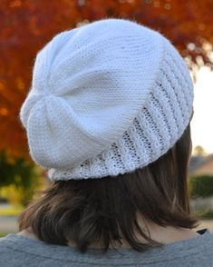 Knit Slouch Beanie Mock Cable Brim Hat Hand Knit in White by Gone2Pieces