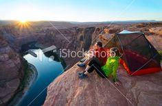 Camping at the edge Royalty Free Stock Photo