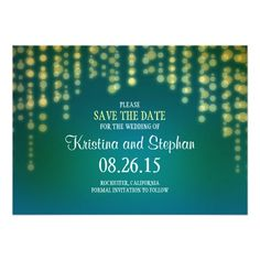 string lights SAVE THE DATE cards Invitations