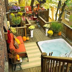 Add flowers to your deck to update the whole space: http://www.bhg.com/home-improvement/deck/ideas/deck-makeovers/?socsrc=bhgpin073114justaddflowers&page=6