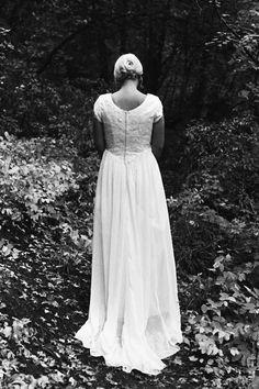 Modest lace and chiffon wedding dress from Avenia Bridal