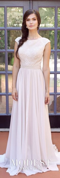 Trendy wedding dresses chiffon and lace Ideas Modest Wedding Gowns, Wedding Dress Chiffon, Wedding Dress Sleeves, Lace Weddings, Modest Dresses, Dresses With Sleeves, Wedding Outfits, Cap Sleeves, Bridal Gowns