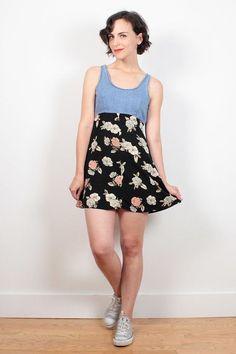 aa43dbf935 Vintage 1990s Dress Denim Top Black Ditsy Floral Print Micro Mini Dress 90s  Dress Babydoll Dress