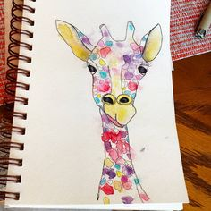 Daily painting..pen and ink with watercolor.  Just seeing if I could draw a giraffe. #penandink #watercolor #judyapplegarthart #dailypainting #artjournal