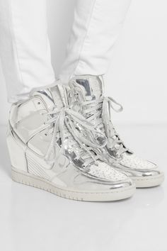 Nike | Dunk Sky Hi metallic leather wedge sneakers | NET-A-PORTER.COM