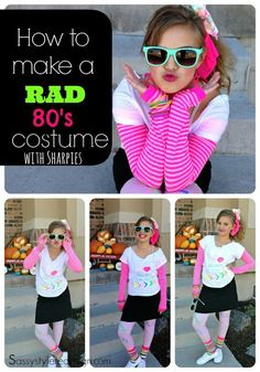 How to create a rad 80's style costume using Neon Sharpie markers by sassystyleredesign.com
