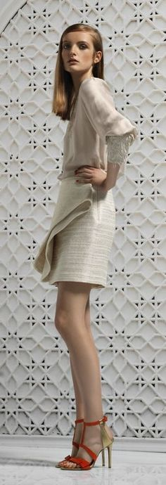 Genny Resort 2016 Vanilla Cream, White Dress, Dresses With Sleeves, Long Sleeve, Sweaters, Runway, Street, Fashion, Cat Walk