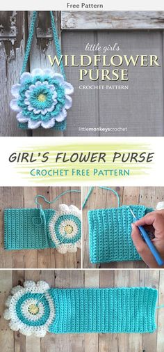 Little Girl's Flower Purse Crochet Free Pattern #freecrochetpatterns