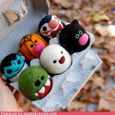 halloween felted egg babies