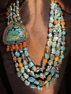 Jewelry Bohemian Ethnic Inspired contemporary Turquoise Necklace by Faria Siddiqui - Ethnische inspirierte zeitgenössische Türkis Halskette von Faria Siddiqui Pinner charityidowua Tribal Jewelry, Bohemian Jewelry, Turquoise Jewelry, Indian Jewelry, Beaded Jewelry, Jewelry Necklaces, Gold Jewellery, Jewlery, Necklace Ideas