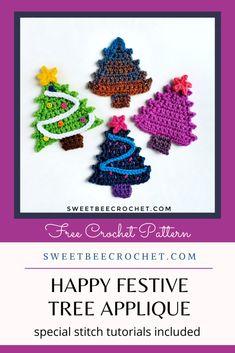 Crochet Christmas Trees, 1st Christmas, Christmas Crafts, Christmas Ornaments, Free Crochet, Knit Crochet, Free Pattern, Crochet Necklace, Crochet Patterns