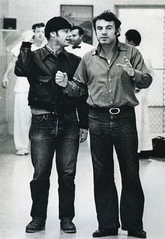 Jack Nicholson and Director Milos Forman on the set of One Flew Over the Cuckoo's Nest (1975)