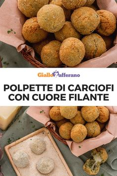 POLPETTE DI CARCIOFI CON CUORE FILANTE: deliziosi finger food, ideali da servire come antipasto, a base di un impasto preparato con carciofi sbollentati, mollica di pane, uovo e grana padano grattugiato! Una delizia da provare subito! #polpette #carciofi #cuore #filante #lava #heart #cheese #artichoke #meatball #balls #artichokes #italian #food #easy #recipe #ricetta #facile #veloce #giallozafferano [Easy italian vegetarian lava artichoke balls recipe] Antipasto, Arancini, Vegan Lifestyle, Italian Recipes, Buffet, Food And Drink, Appetizers, Potatoes, Vegetables