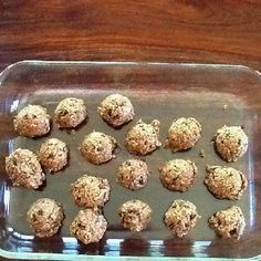 Peanut butter protein snack  Prep time: 5 mins, easy and quick  Put all this in a mixer: 1 c oatmeal, 1/2 c peanut butter, 1/3 c honey, 1/2 c ground flaxseed, 1/2 c mini chocolate chips, 2 tsp vanilla, dash cinnamon. Mix and make little balls then put in fridge to cool - enjoy!