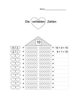 Verliebte Zahlen / Zehnerfreunde / Zerlegung der 10 – Unterrichtsmaterial in d… Numbers in love / Friends of ten / Breaking down the 10 teaching material in the subjects of daycare and mathematics Fall Friends, School Frame, Cycle 2, Future Jobs, Math Lessons, Primary School, Mathematics, Falling In Love, Teacher