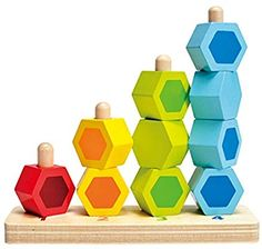 Hape Counting Stacker Toddler Wooden Stacking Block Set ** You can find out more details at the link of the image. (This is an affiliate link) Stacking Blocks, Stacking Toys, Toys For Little Kids, Hape Toys, Early Explorers, Honeycomb Shape, Wood Source, Wooden Blocks, Paint Finishes