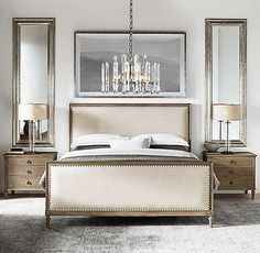 Maison Panel Fabric Bed With Footboard above nightstand bedroom ideas Maison Fabric Panel Bed With Footboard Bedroom Colors, Home Decor Bedroom, Modern Bedroom, Bedroom Ideas, Contemporary Bedroom, King Bedroom Furniture Sets, Bedroom Designs, Classic Bedroom Furniture, Bedroom Romantic