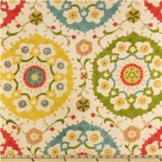 Love This fabric pattern... it looks like swanky Spanish tiles but would look great on a couch!