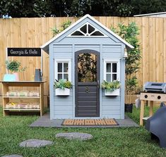 Kmart cubby complete with BBQ and fruit shop. Kids Cubby Houses, Kids Cubbies, Play Houses, Diy Playhouse, Playhouse Outdoor, Backyard Playground, Backyard For Kids, Kmart Decor, Wendy House