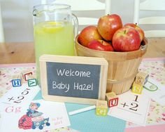 Jen from Sweeten Your Day Events created the most darling vintage school baby shower for some of her closest friends. Alphabet Birthday Parties, Alphabet Party, Apple Centerpieces, Big Shower, Baby Hazel, Baby Shower Themes, Shower Ideas, Brown Babies, Little Baby Girl