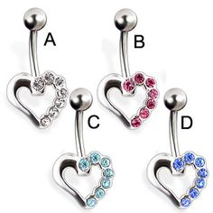 Jeweled heart belly button ring Heart Piercing, Body Jewelry, Belly Button Rings, Hair Care, Buttons, Jewels, Rings, Bijoux, Gemstones