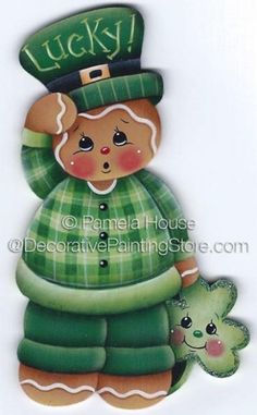Lucky Little Gingerbread Painting E-Pattern Gingerbread Decorations, Gingerbread Ornaments, Christmas Gingerbread, Christmas Ornaments, Disney Christmas Decorations, Wood Crafts, Diy Crafts, Snowman Crafts, Tole Painting