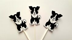 Puppy Party Cupcake Toppers - Dog Cupcake Toppers - Border Collies Cupcake Toppers by CraftyCue on Etsy