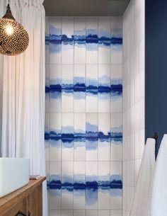 watermark indigo dip installation- a collaboration between parallel design and… Bathroom Tile Designs, Bathroom Design Small, Bathroom Wall, Bathroom Modern, Le Grand Bleu, Blue Home Decor, Interior Design Magazine, Home Upgrades, Home Fashion