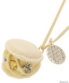 Creamy Lemon Macaron Necklace