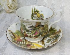 Royal Albert Vintage Tea Cup and Saucer Quaint Village Scene with Tower
